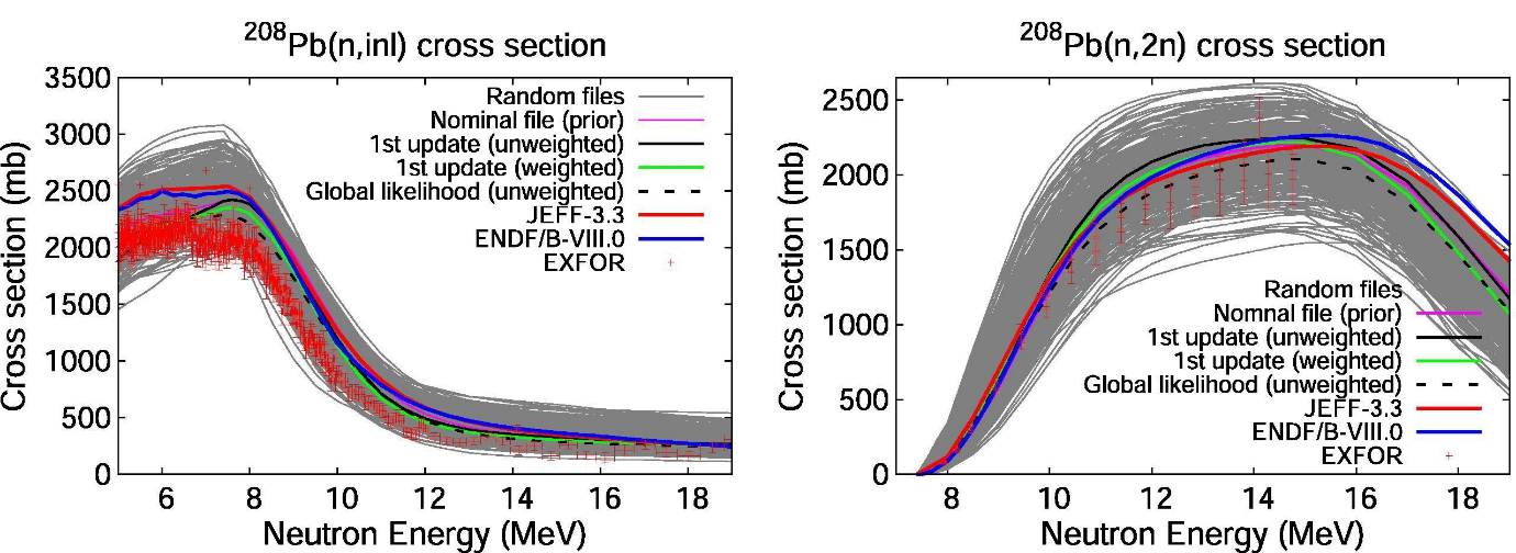 Comparison of file performance between this work and the major nuclear data libraries as well as with differential experimental data from the EXFOR database (between 5 and 20 MeV) for the (n,inl) and (n,2n) cross sections of 208Pb [1].